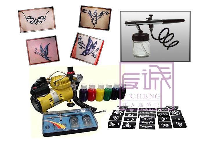 Temporary body art glitter tattoo kit with mini air compressor for Temporary tattoo kit online